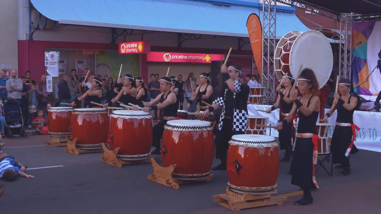 Japanese Taiko On drumming Subiaco Street Festival Perth