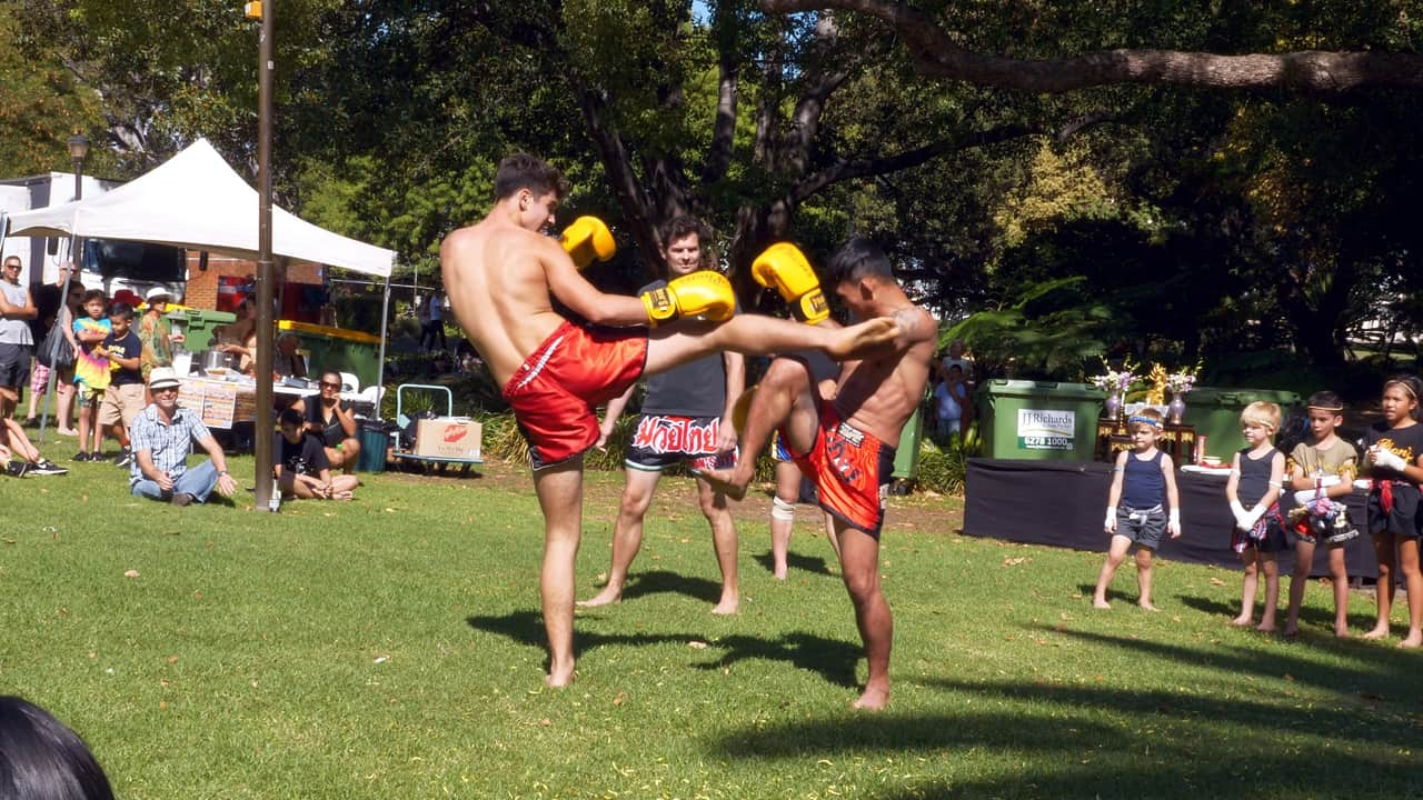Muay Thai Demo Fighting Songkran Hyde Park Perth Australia
