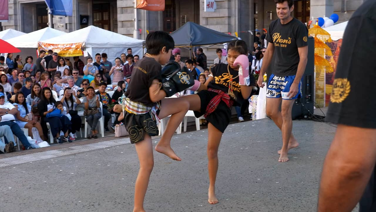 Muay Thai Fight Juniors Demo Songkran Festival 2018 Perth Australia