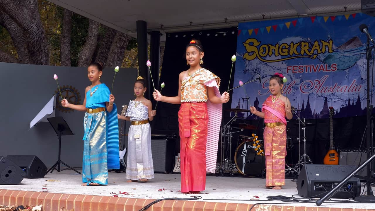 Traditional Thai Flowers Dance Songkran Hyde Park Perth Australia