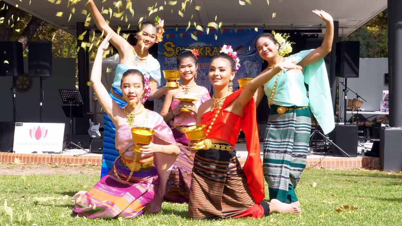 Traditional Thai flower dance Songkran Hyde Park Perth Australia
