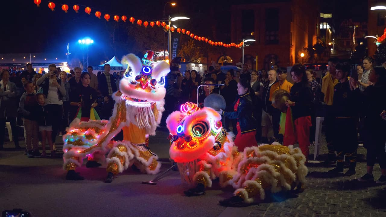 Lion Dance Night Noodle Market Perth Western Australia