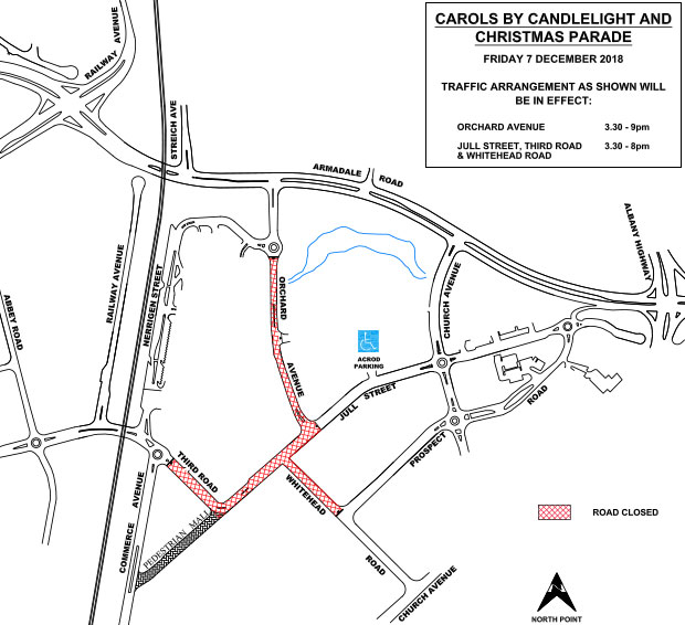 Carols by Candlelight and Christmas Parade 2018 Road Closures