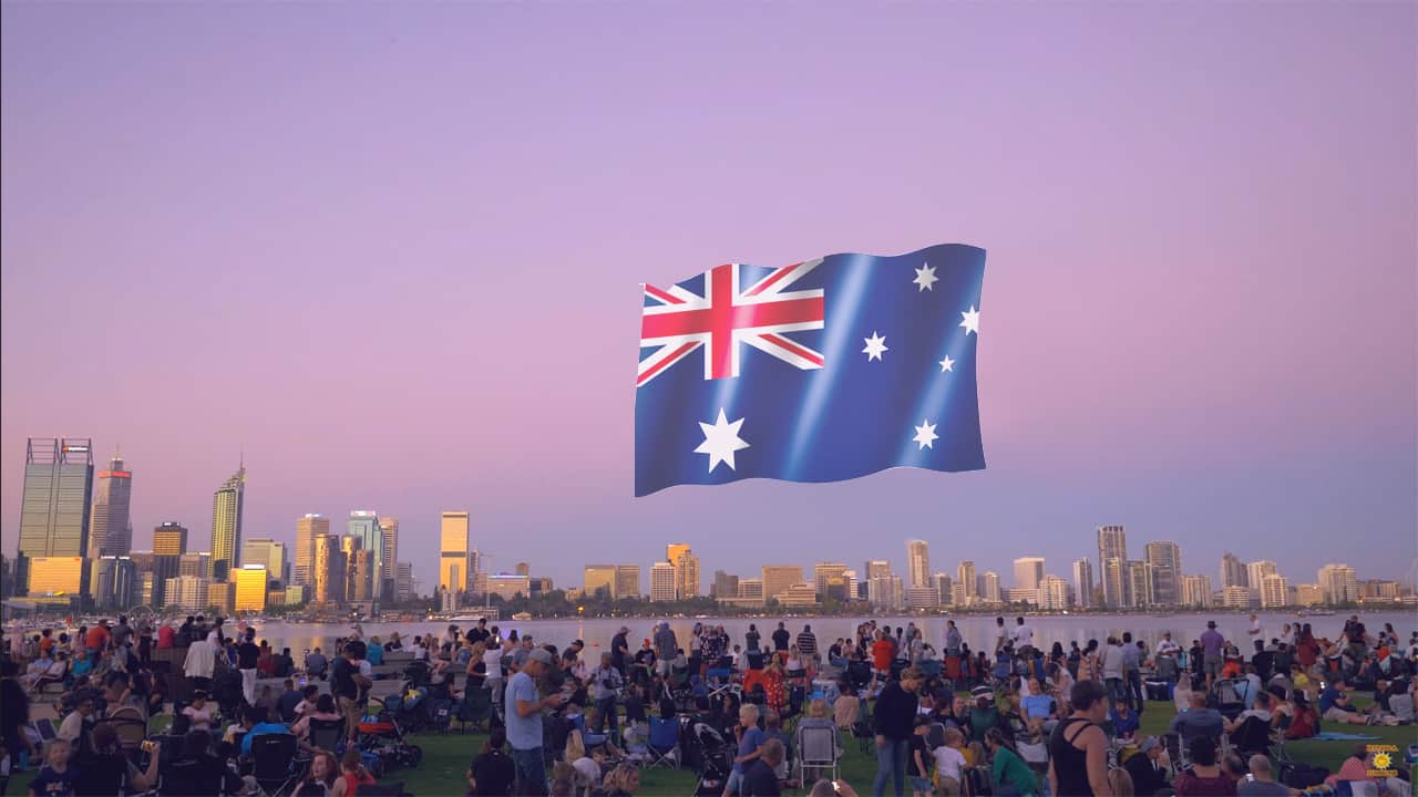 Australia Day Fireworks celebration in Perth Western Australia
