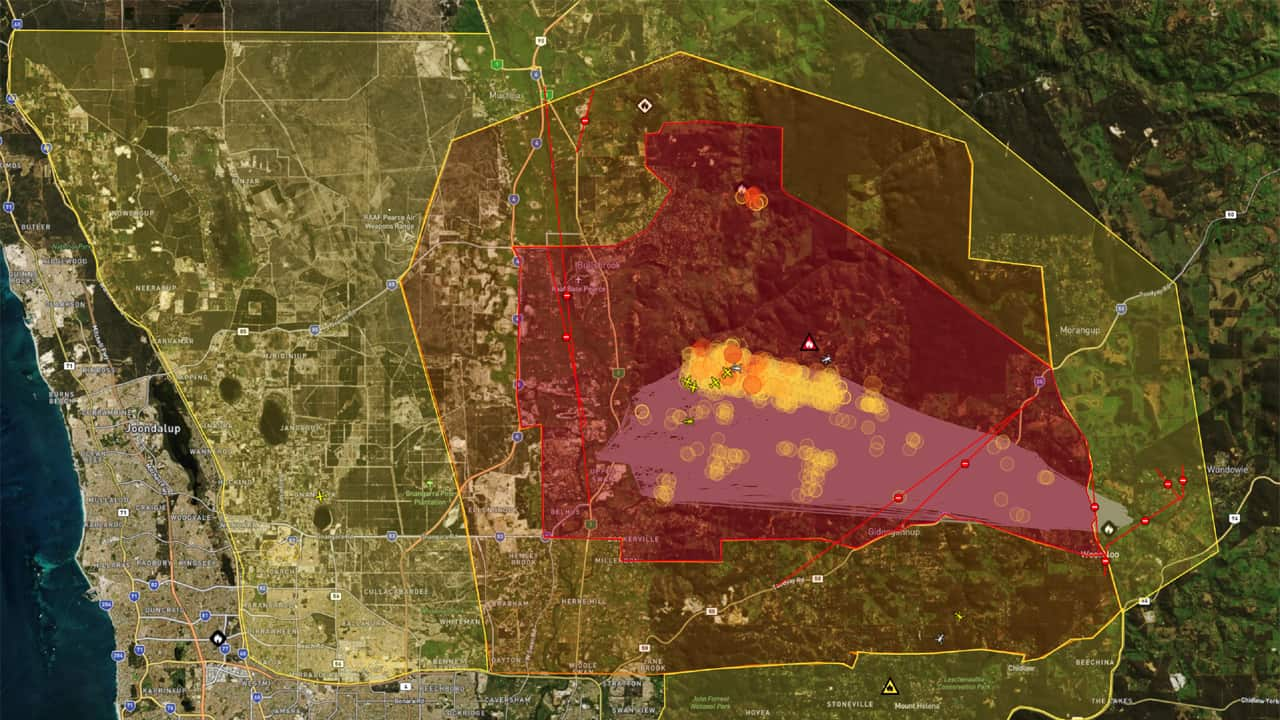 Map Catastrophic Fire Emergency Inferno at Perth Hills Western Australia